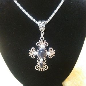 Cross Chain Stone Pendant Necklace - NWT
